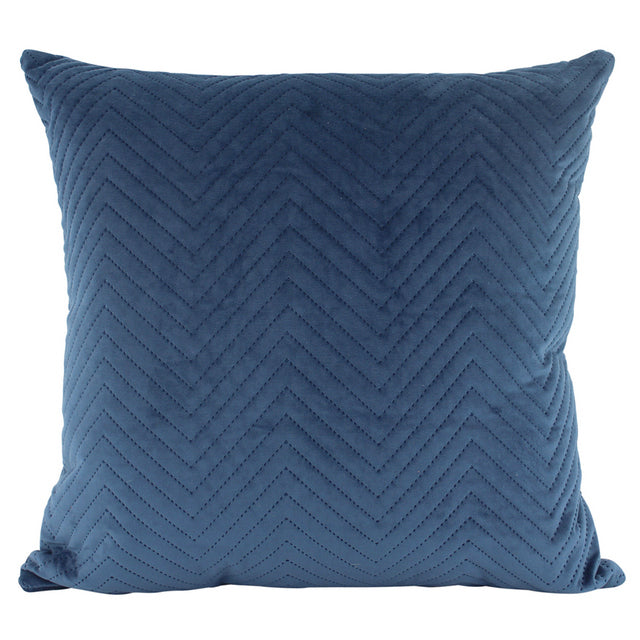 Ocean Blue Chevron quilted velvet cushion