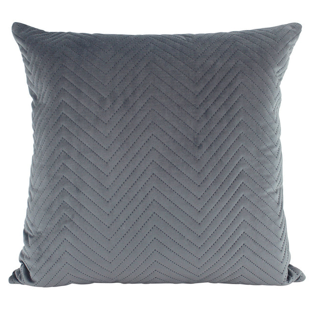 Grey Chevron quilted velvet cushion