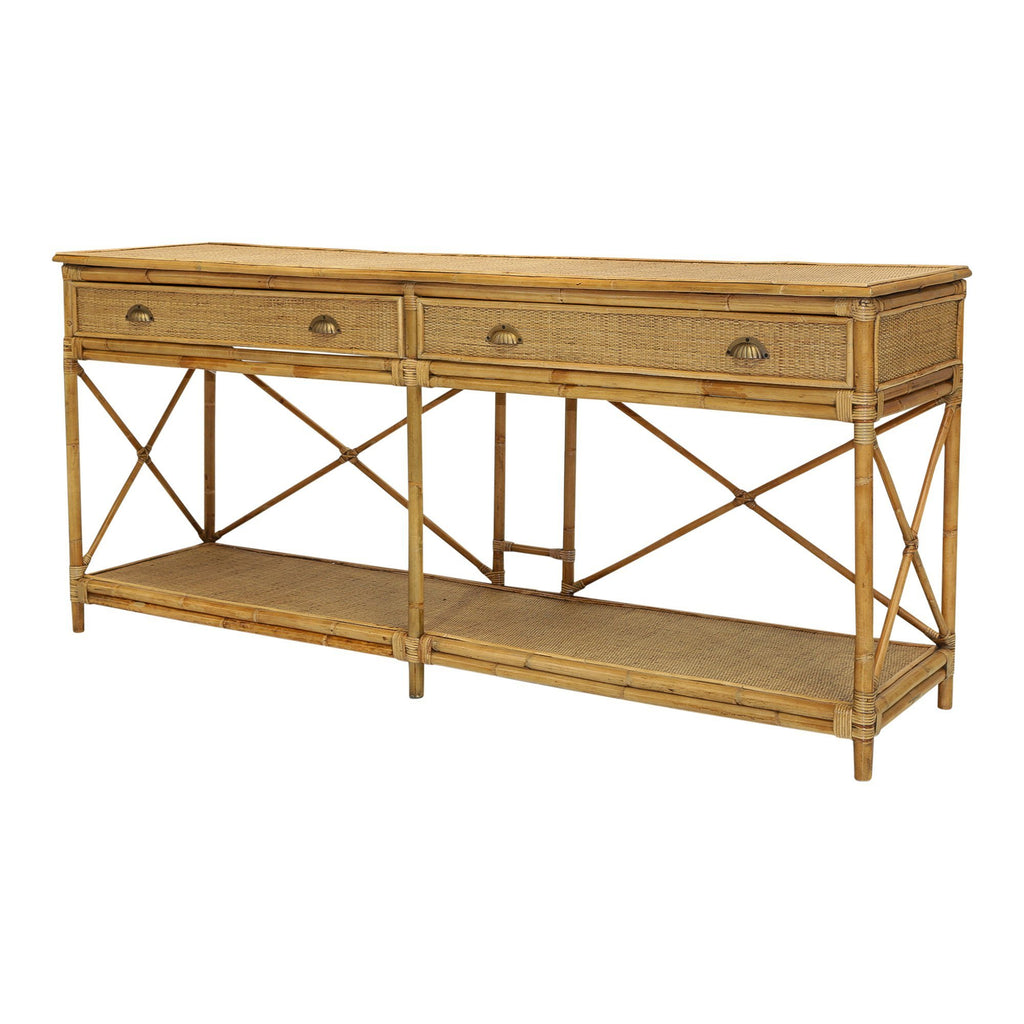 CAYMANT LARGE TWO DRAWER RATTAN CONSOLE interior Collectionss