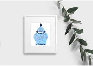 Blue on Blue Blossom Ginger Jar - print only