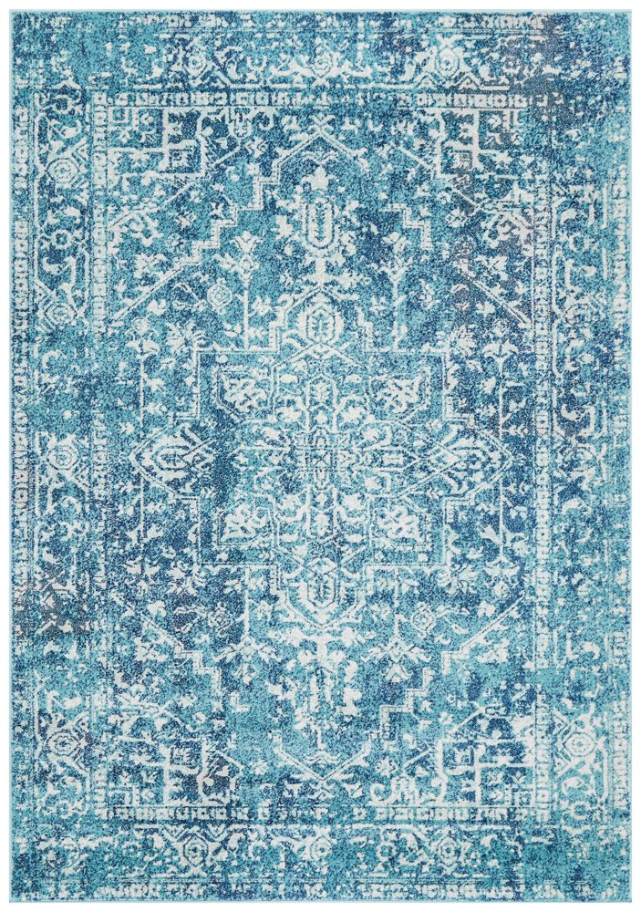 Distressed Transitional Vintage Rug - Teal blue