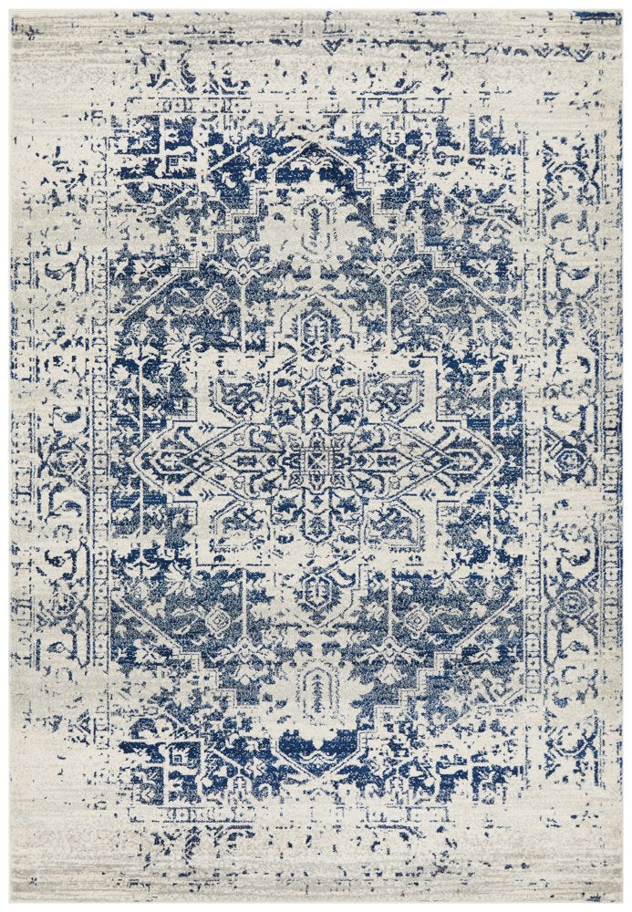 Distressed Transitional vintage rug - Ivory and Navy