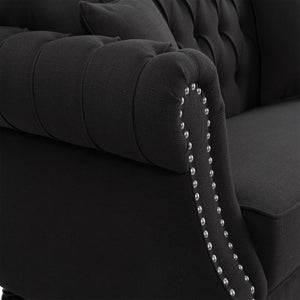Provincial 2 Seat Buttoned Sofa - charcoal