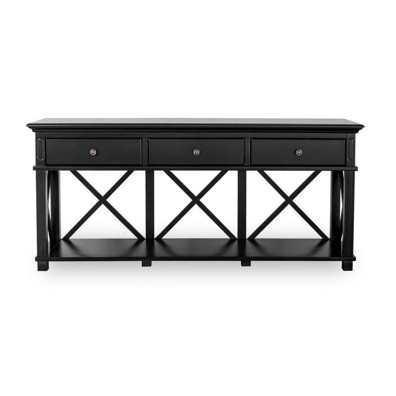 Rhode Island 3 drawer console - black