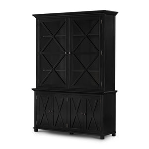 Rhode Island Tall Glass Door Cabinet black