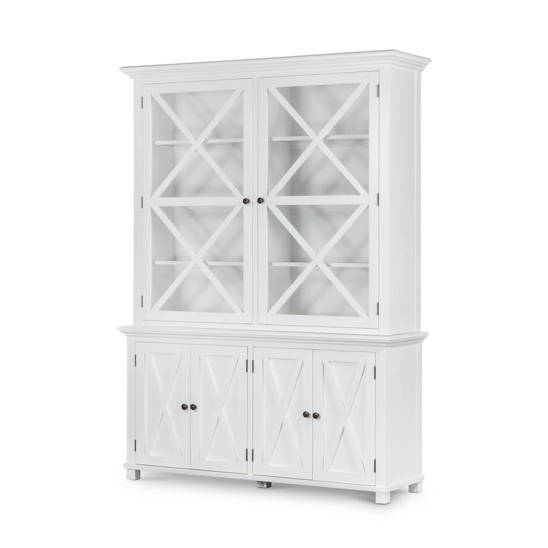 Rhode Island Tall Glass Door Cabinet white