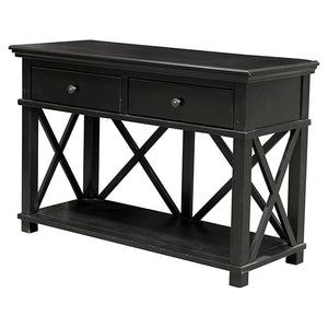 Rhode Island 2 drawer console - black