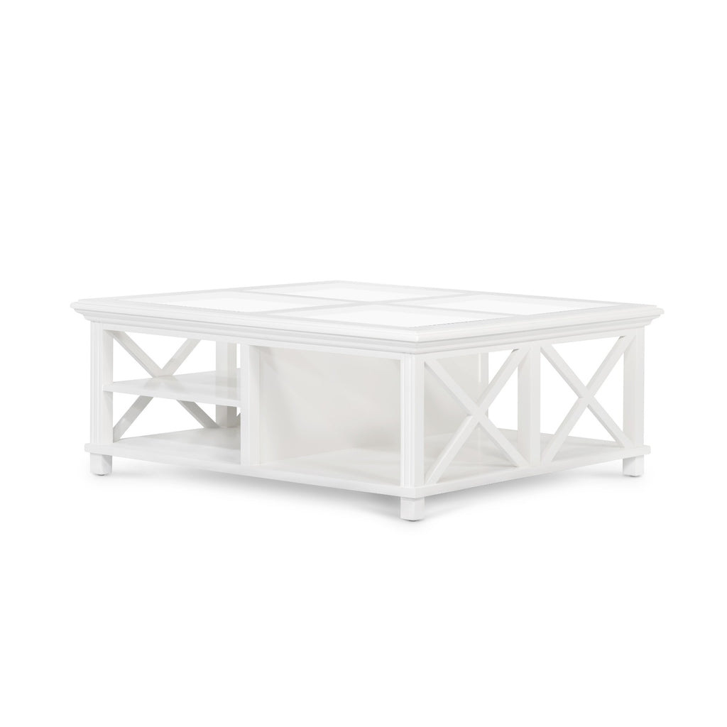 Rhode Island square glass coffee table white