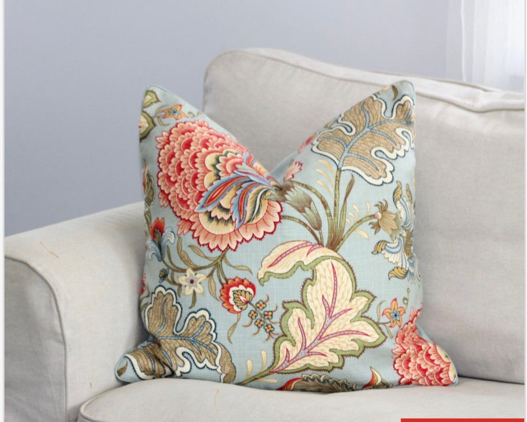 Portsea Duckegg floral cushion cover