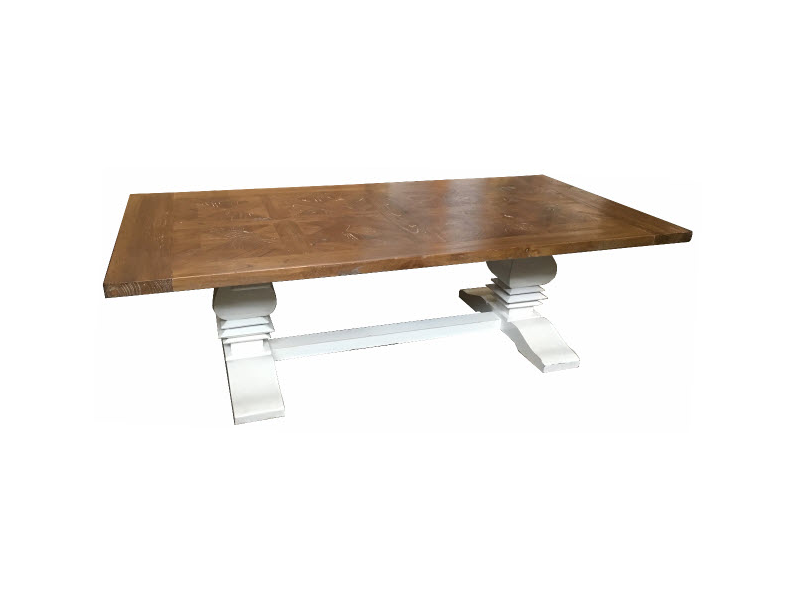 Hamptons Parquetry Elm coffee table natural/white base