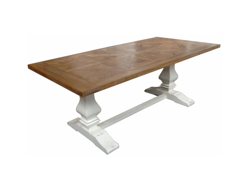 Hamptons Parquetry Elm dining table - white base