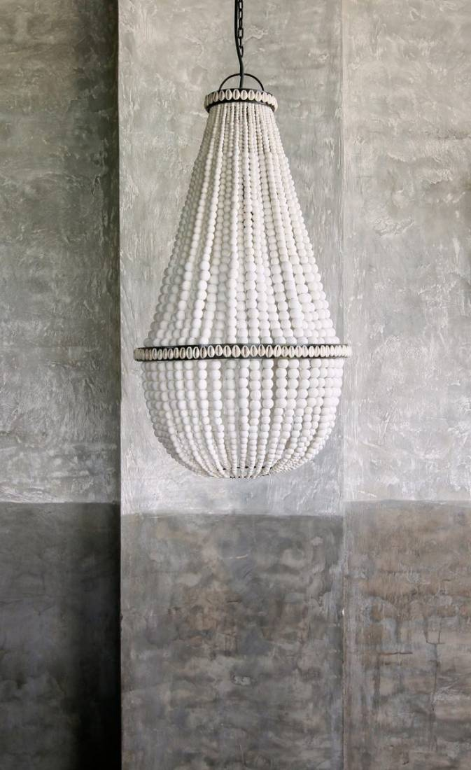 Coastal wooden beaded chandelier