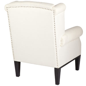 Regent Upholstered Classic Armchair with Footstool - white                  -te
