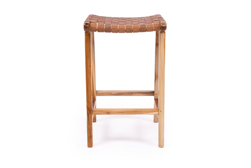 Tan Leather Strap Backless Stool