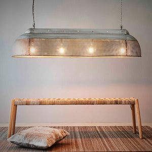 RIVA LONG - ZINC - PERFORATED IRON ELONGATED PENDANT LIGHT
