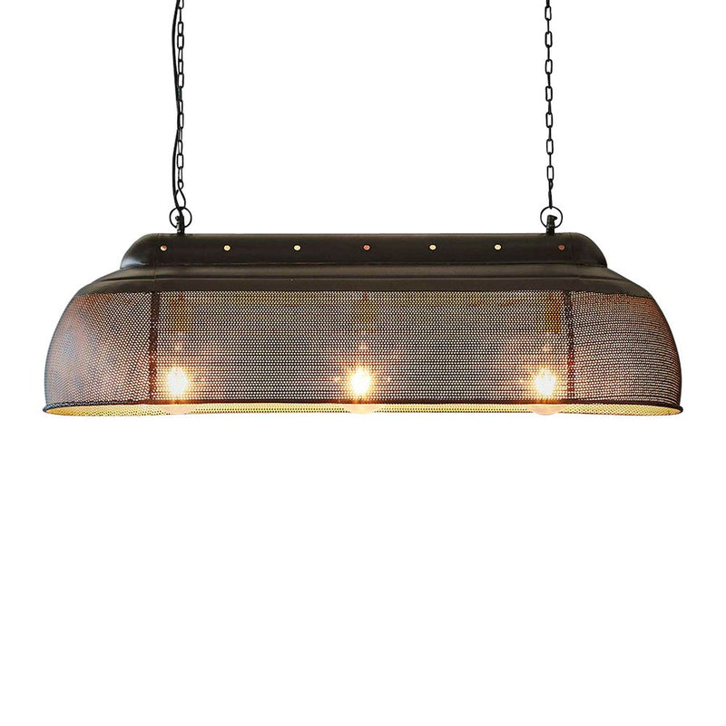 RIVA LONG - MATT BLACK - PERFORATED IRON ELONGATED PENDANT LIGHT