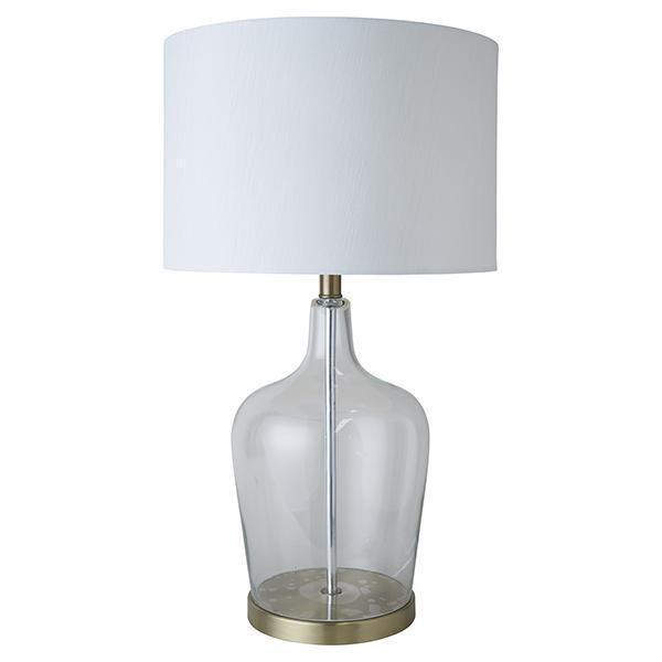 Coastal Glass Brass lamp - white shade