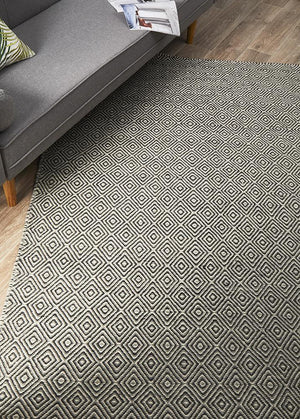 Grey and natural diamond rug