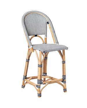 Coastal Rattan Stool - Navy/White