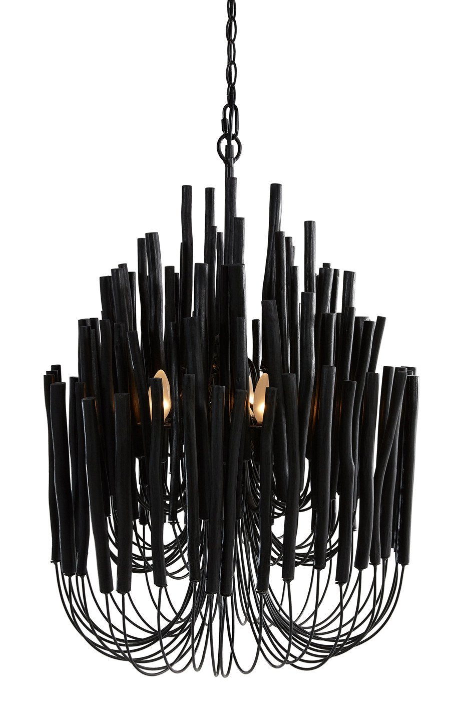 Wooden Candle Stick Lamp in Black Interior Collections