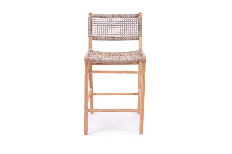 Coastal Teak Stool - washed grey