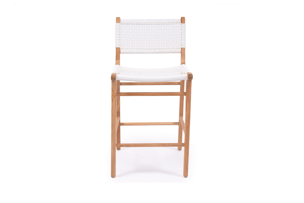 Coastal Teak Stool - white