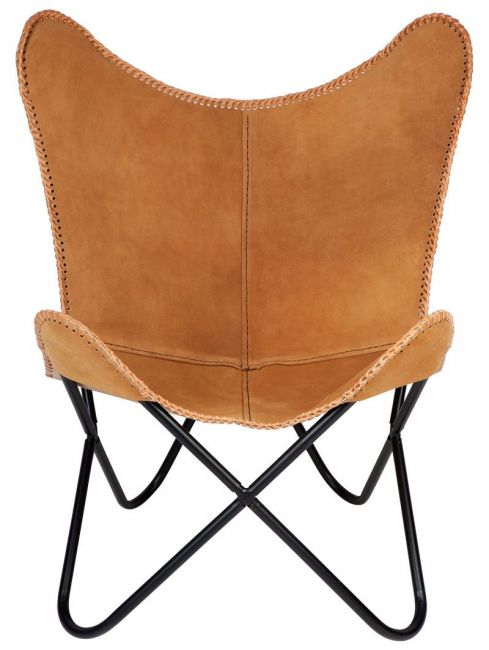Tan Suede Leather Butterfly chair
