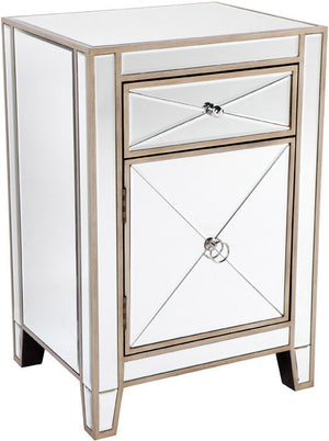 Mirrored Bedside Table - Antique Gold
