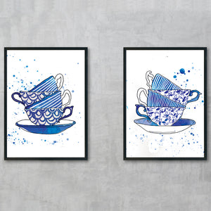 Tea For Two Blue Teacups 2
