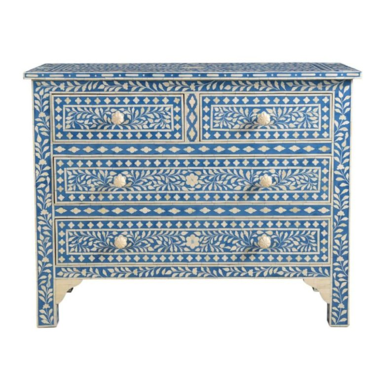 Bone Inlay Indigo Botanical chest of drawers