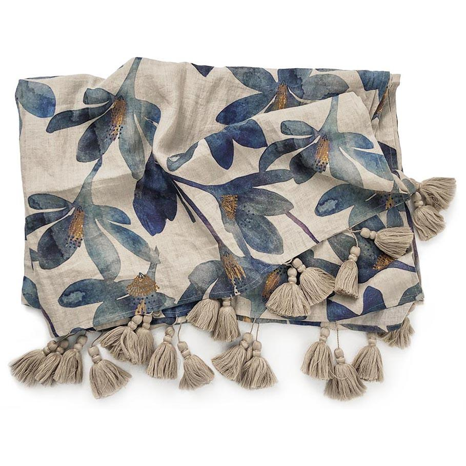 Linen Blue Floral Throw
