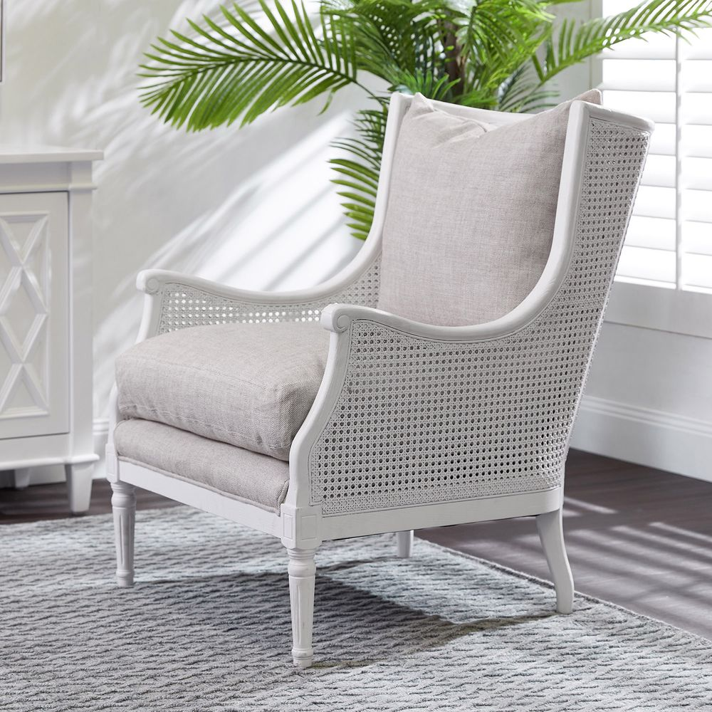 Havana White Rattan Occasional Chair - Natural Linen