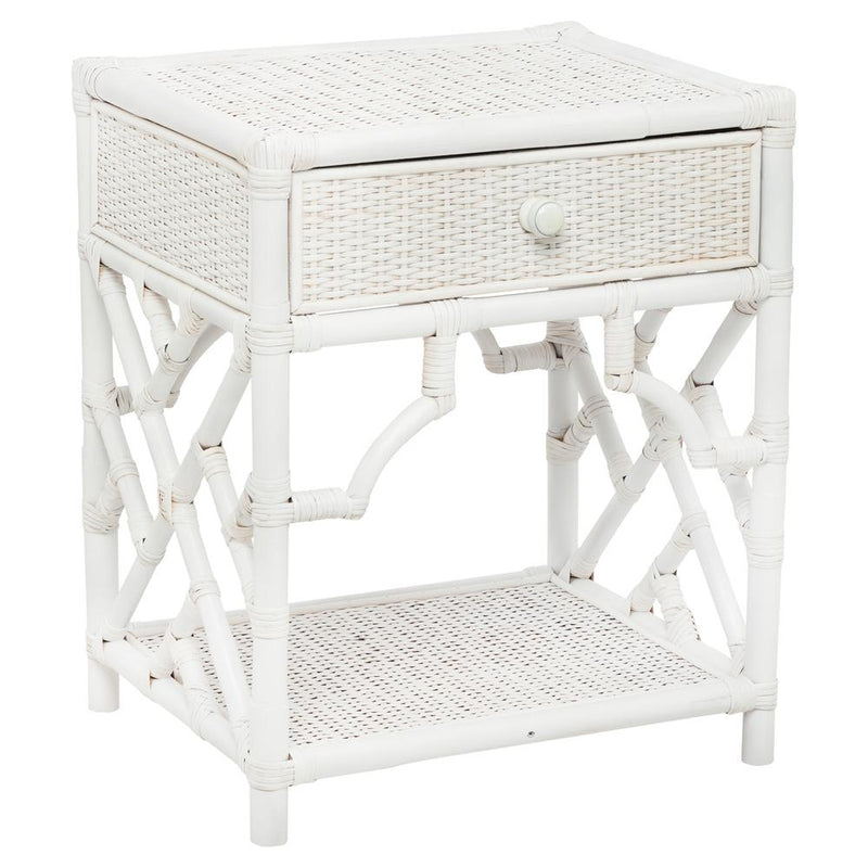 Chippendale Rattan Bedside table - white