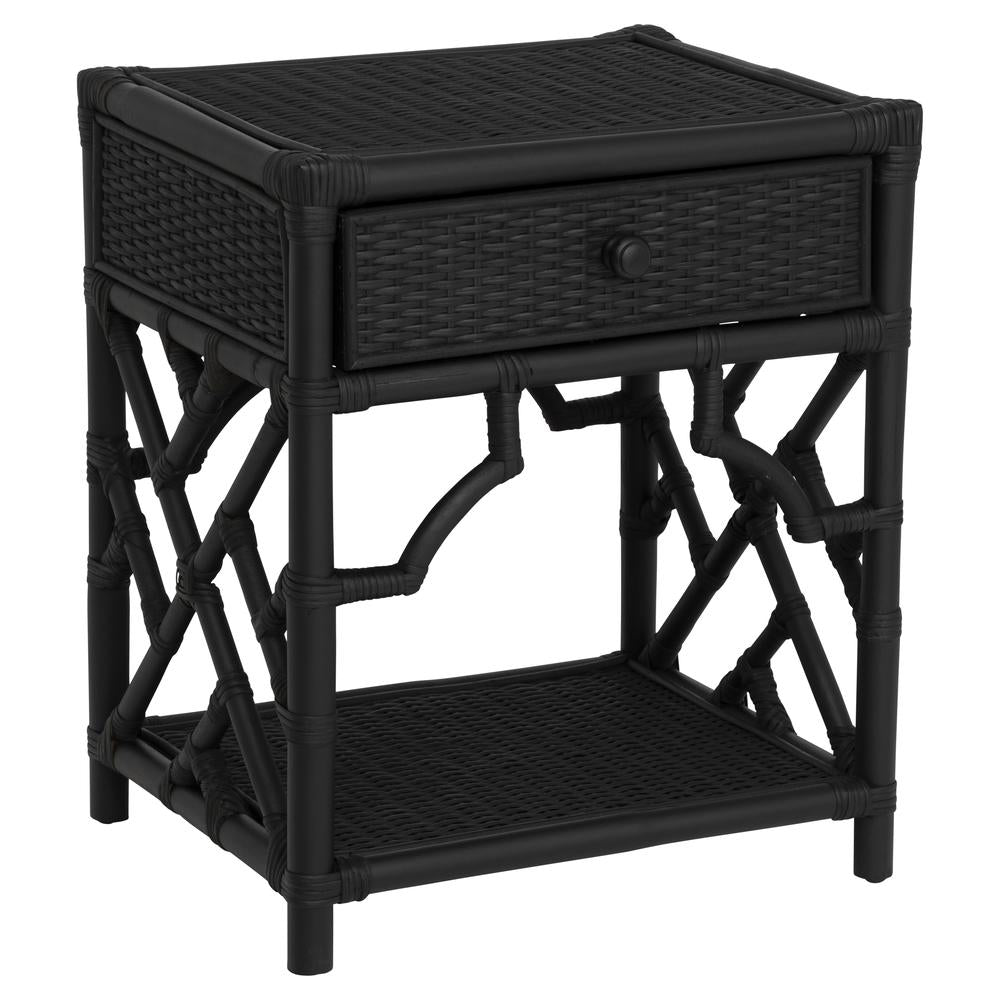 Chippendale Rattan Bedside table - black