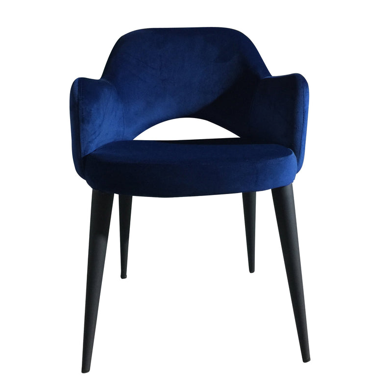 Toulon velvet dining chair - blue