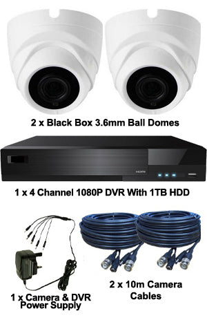 Black Box 3.6mm Mini 2MP Ball Dome 2 Camera System.  INTERNAL ONLY KIT