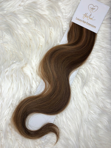 Brown with Light Brown Highlights (Color 1304) Tape-In Extensions - 25""