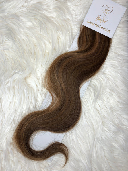 Brown with Light Brown Highlights (Color 1304) Tape-In Extensions - 21""