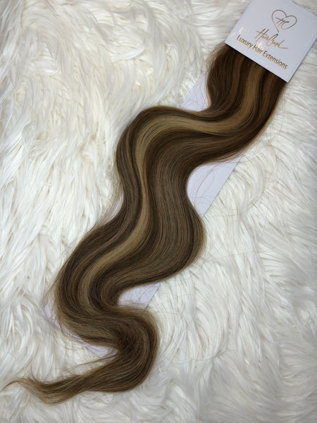 Medium Brown with Blonde Highlights (Color 1305) Tape-In Extensions - 21""