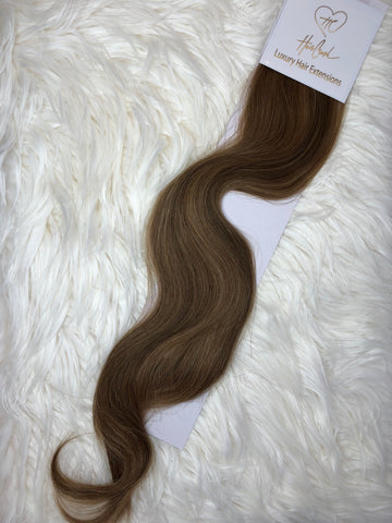 Brown with Natural Highlights (Color 1416) Tape-In Extensions - 21""