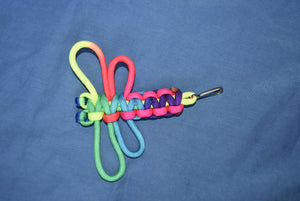 Rainbow Tie-dyed 550 Cord Dragon Fly Key Chains With Glow in the Dark Eyes Options