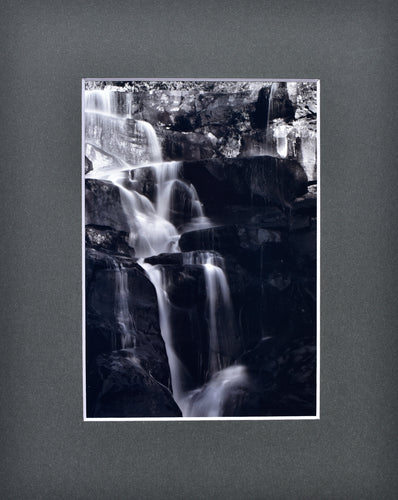 Black and White Waterfall picture Fine Art Photography Matted Picture 8x10