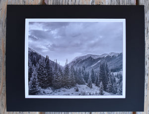 Black and White Mountain Sunset Landscape Fine Art Photography 11x14 Double Matted Print