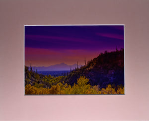 Arizona Mountain Sunset Fine Art Photography Matted Picture 8x10