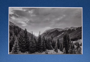 Mountain Landscape Sunset Black and White Fine Art 5x7 Matted Picture