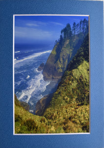Oregon Northwestern Pacific Coast Cliff and Ocean Landscape Fine Art Photography 5x7 Matted Print