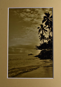 Sunset Silhouette Beach Ocean Landscape Fine Art Photography 5x7 Matted Print