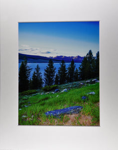 Mountain Lake with Trees at Dusk Landscape Fine Art Photography 11x14 Matted Print