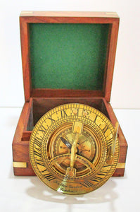 Sundial in a wooden box