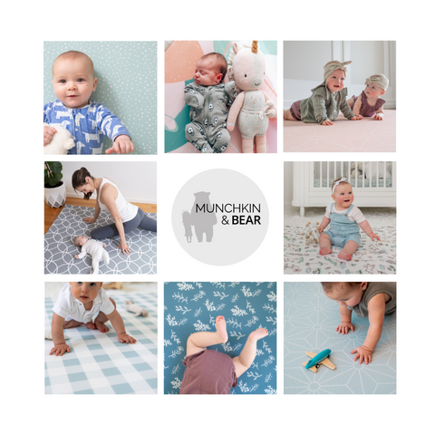 Various play mats images in a grid of 9 squares with the Munchkin & Bear logo in the centre